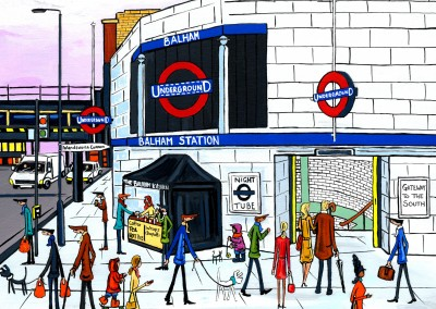 Illustration South London Artist Dan Balham Station night tube