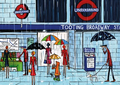 Illustration South London Artist Dan Tooting raining again