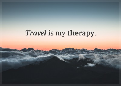 postcard saying Travel is my therapy