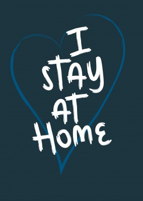 postcard saying I stay at home