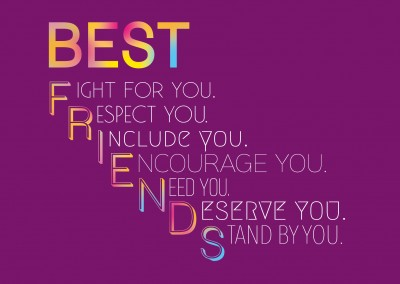 Purple background with colorful quote about best friends