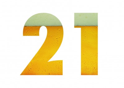 No.21 with beer photo layered in the background on white ground
