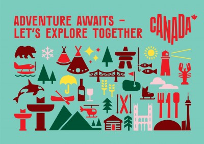 postcard saying Adventure awaits. Let's explore together.