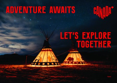 postcard saying Adventure awaits. Let's explore together., Kluane National Park and Reserve, Yukon - Destination Canada