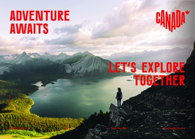 postcard saying Adventure awaits. Let's explore together., Kananaskis Country, Alberta - Destination Canada