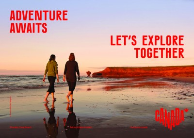 postcard saying Adventure awaits. Let's explore together., Thunder Cove Beach, Prince Edward Island - Destination Canada
