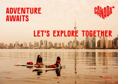 postcard saying Adventure awaits. Let's explore together., Toronto, Ontario - Destination Canada