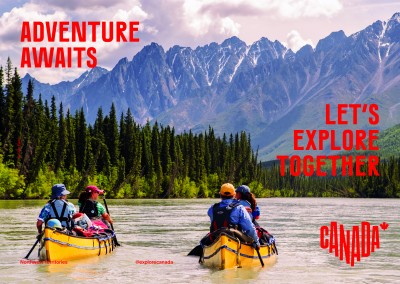 postcard saying Adventure awaits. Let's explore together., Northwest Territories - Destination Canada