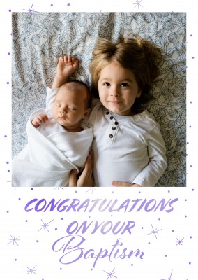 Baptism congratulation card blue and white