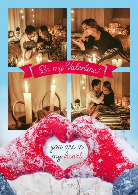 postcard Be my Valentine you are in my heart