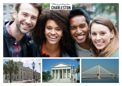 Postkarte mit Dreiercollge von Charleston, South Carolina