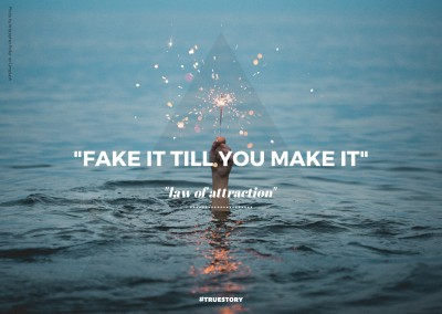 FAKE IT TILL YOU MAKE IT postcard quote