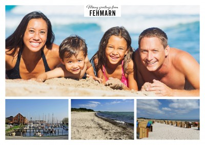 Postcard with three photos of the Baltic Sea island Fehmarn – Beach and port