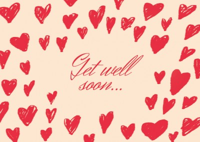 Many hearts with a Get well soon Slogan in red