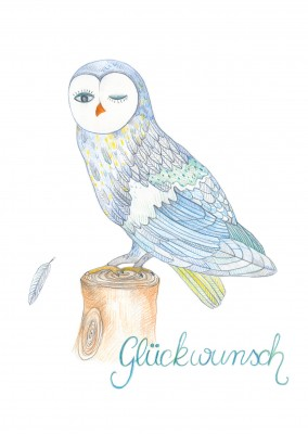 Glueckwunsch illustration mit Eule