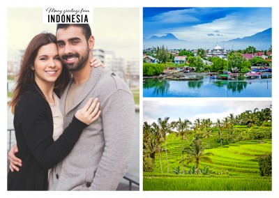 two photos of indonesian rice plantation and city