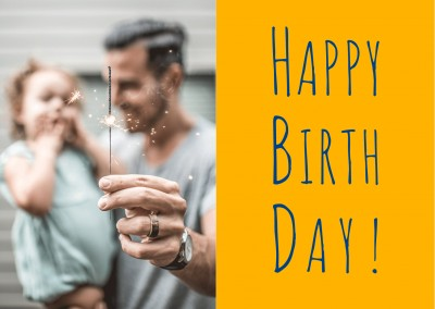 Happy Birthday Handwriting on yellow Background