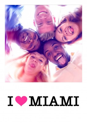 I love Miami pink heart on white
