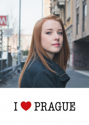template with I love Prague sign