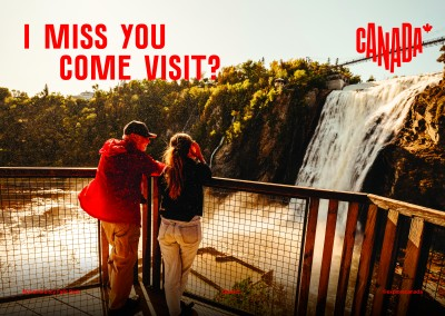 postcard saying I miss you. Come visit?, Montmorency Falls, Quebec - Destination Canada