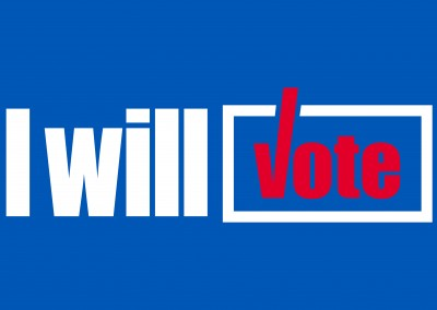 White lettering on blue – I will vote