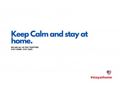 KEEP CALM AND STAY AT HOME. POSTCARD