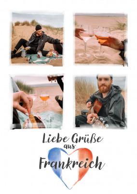 Postkarte Liebe Grüße aus Frankreich