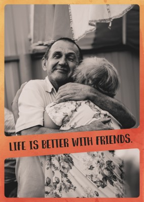 Life is better with friends postkarten spruch inspiration