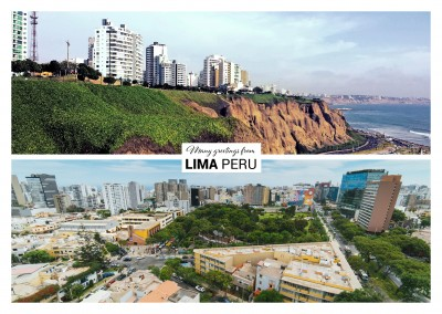 Postcard with two photos of Lima – Skyline and ocean