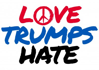 Love Trumps Hate handlettering in blue red black