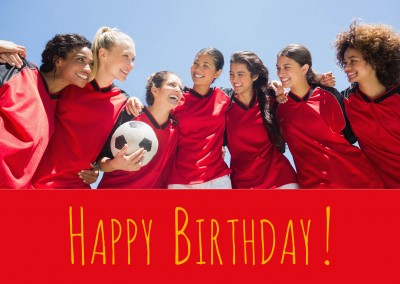 Happy Birthday lettering on red background