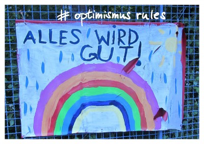 Postkarte #Optimismus rules