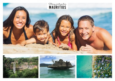 Postcard Mauritius with 3 photos