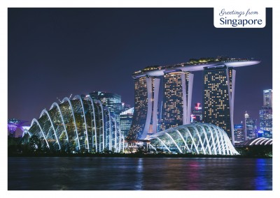 Singapore by night near the water–mypostcard