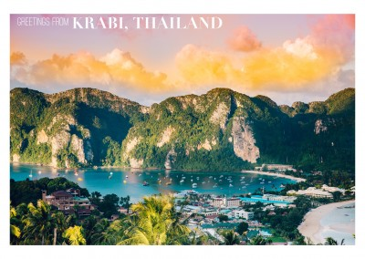 Photo of Krabi, Thailand with palm trees and boat