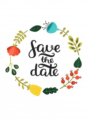 save the date invitation postcard with a circle of flowers
