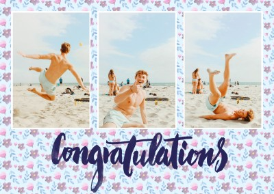 bloomy Congratulations-card as collage for three photos