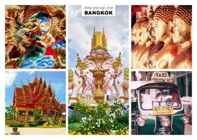Fünfer collage mit fotos aus Bangkok in Thailand