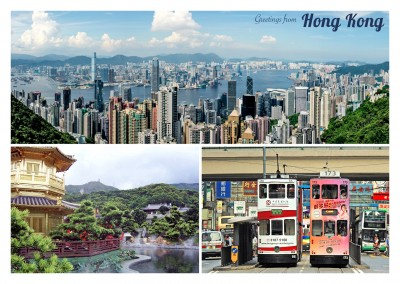 Postkarte Collage china Hong Kong asien fotos Urlaubsgruesse