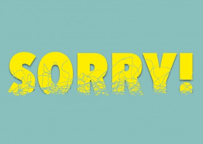 Yellow Sorry in captial letters on mint colored background