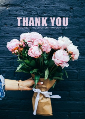 THANK YOU QUOTE FLOWERS POSTCARD