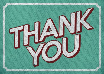 thank you writing on green background with rippled pattern