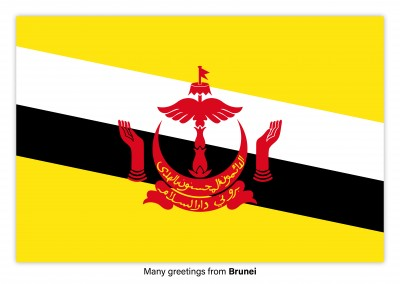 Postcard with flag of Brunei