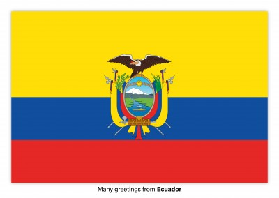 Postcard with flag of the Ecuador