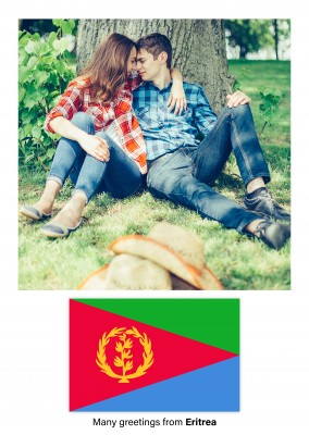 Postcard with flag of the Eritrea