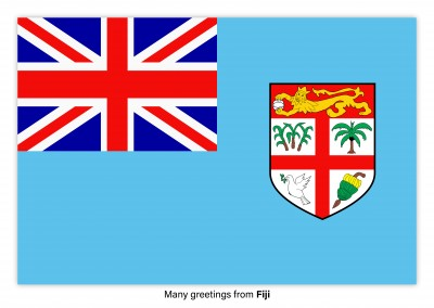 Postcard with flag of Fiji