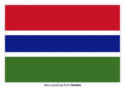 Postcard with flag of Gambia