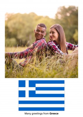 Postcard with flag of Greece