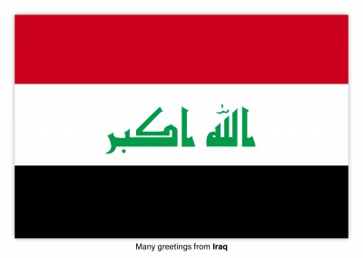 Postcard with flag of Iraq