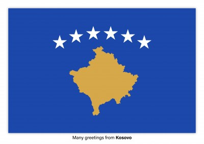 Postcard with flag of Kosovo